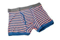 Striped мужские боксеры нижнего белья изолированные на белизне Стоковые Фотографии RF
