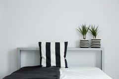 Striped подушка на черно-белом покрывале Стоковое Изображение RF