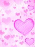 Striped сердца на розовой старой бумаге Стоковое Изображение