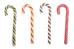 Striped тросточка конфеты изолированной на белой предпосылке Взгляд сверху Стоковые Фотографии RF