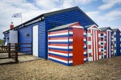 Striped хаты пляжа Стоковые Фото