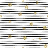 Striped черно-белая безшовная картина с золотыми точками польки shimmer Стоковое Изображение