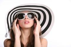 striped шлем девушки шикарный Стоковые Фото