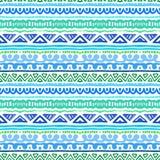 Striped этническая картина в живые голубом и зеленый Стоковое фото RF