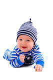 Striped. Dressed boy at the age of four months, isolated Stock Photos
