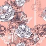 Безшовная картина с striped предпосылкой, розами Стоковые Фотографии RF