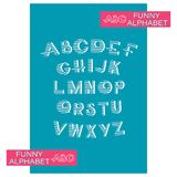 Striped alphabet on blue background. Design a font in blue stripes and an alphabet of capital letters for children. Marine symbols vector illustration