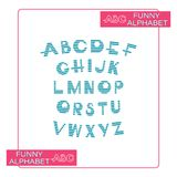Striped alphabet on white background. Design a font in blue stripes and an alphabet of capital letters for children. Maritime symbols Stock Images