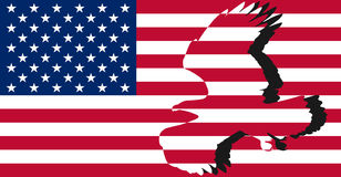 Striped American flag. A silhouette of an eagle on the background of striped American flag Royalty Free Stock Photography