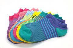 Striped Ankle Socks. Fanned display of colorful, striped ankle socks Stock Image