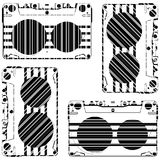 Striped audio tapes Stock Photo