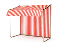 Striped awning. Empty striped awning on white background. 3d render Stock Image