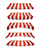 Striped Awnings For Market Store Stock Photos