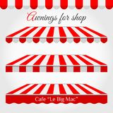 Striped Awnings for Shop in Different Forms. Red and White Awning with Sample Text vector illustration