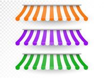 Striped awnings for shop and marketplace. Unique template for your design Royalty Free Stock Photography