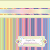 Striped background. Decorative striped rainbow background with ribbon and label Royalty Free Stock Photos