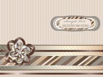 Striped background. Decorative striped background with ribbon, bow and label Stock Images