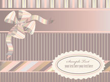 Striped  background. Decorative striped background with ribbon, bow and label Royalty Free Stock Image
