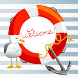 Striped background with anchor, lifeline and seagull Stock Images