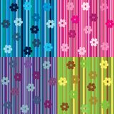 Striped background with flowers Stock Photo