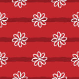 Striped background with flowers. Simple seamless pattern. Stock Photo