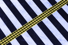 Striped background with gingham ribbon  Stock Photos
