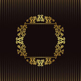 Striped background with a gold frame Royalty Free Stock Photography