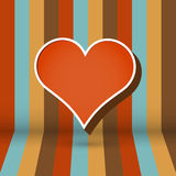 Striped background with heart Royalty Free Stock Photos