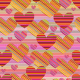 Striped background with hearts Royalty Free Stock Images