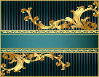 Striped background with pattern from gild Stock Photos