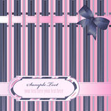 Striped background with ribbon. Decorative striped background with ribbon, bow and label Stock Photos