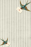 Striped Background Vintage Blue Bird With Letter Royalty Free Stock Photography