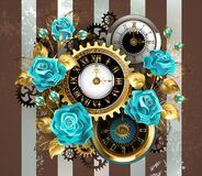 Free Striped Background With Clock And Turquoise Roses Royalty Free Stock Photo - 213300685