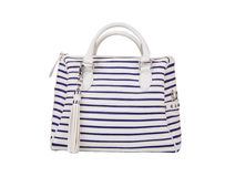 Striped  bag with sea pattern isolated on white ba Royalty Free Stock Photo