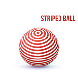 Striped ball. 3d Sphere with Texture. Ball isolated on white background. Vector. 3d Sphere with Texture. Ball isolated on white background. Vector Illustration royalty free illustration