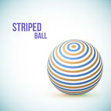 Striped ball. 3d Sphere with Texture. Ball  on white background. Vector Royalty Free Stock Photography