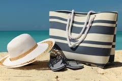 Striped beach bag Stock Image
