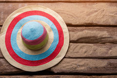 Striped beach hat. Royalty Free Stock Photography