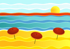 Striped Beach Landscape. Sunset on an empty beach with parasols Royalty Free Stock Images
