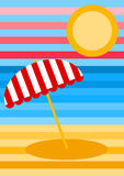 Striped Beach Landscape Greeting Card Stock Images