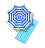 Striped beach umbrella and air mattress. Blue and white striped beach umbrella and air mattress on white background Stock Image