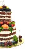 Striped berry cake on white background Stock Photo
