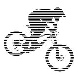 Striped biker silhouette on white background Stock Image