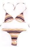 Striped bikini isolated on white Royalty Free Stock Photo