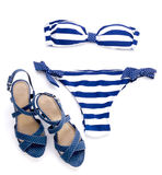 Striped bikini and spotted sandal Stock Photography