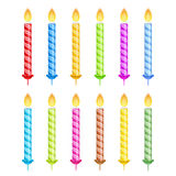 Striped Birthday Candles. Set of striped birthday candles isolated on white background Royalty Free Stock Photos
