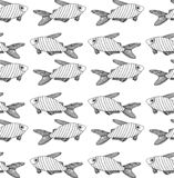 Striped black fish pattern on white background vector illustration