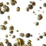 Striped black and golden Easter eggs in white vector illustration
