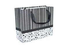 Striped black and white bag Stock Photography