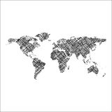 Striped black world map Royalty Free Stock Photo